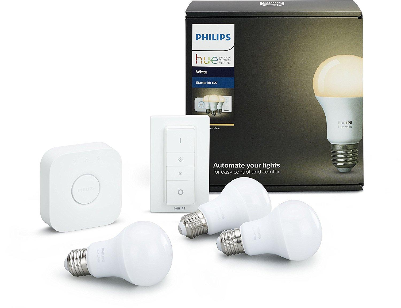 philips hue white e27 led lampe starter set mit drei lampen inkl bridge und dimmschalter f r. Black Bedroom Furniture Sets. Home Design Ideas